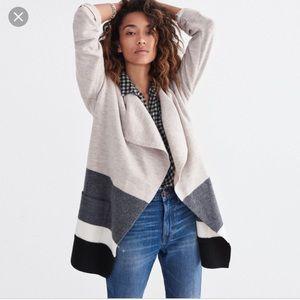 Madewell Meridian Sweater Jacket Wool Striped